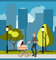 father with stroller in the city vector image vector image