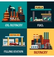 Filling stations and oil refinery flat concepts vector image vector image