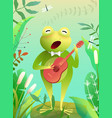 frog or toad singing and playing guitar on swamp vector image