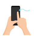 hand holding smartphone with quick tutorial on the vector image vector image