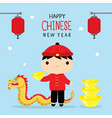 happy chinese new year children boy cartoon vector image vector image