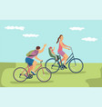 happy family riding bikes vector image