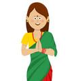 indian woman wearing traditional beautiful saree vector image