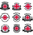 Made in UK badge set with United Kingdom flag vector image