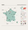 map france country map with division cities vector image