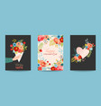 mothers day greeting card set with flowers bouquet vector image vector image