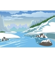 Mountains and river in winter vector image vector image