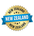 New Zealand round golden badge with blue ribbon vector image vector image