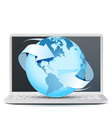 Notebook Computer with Planet Earth vector image vector image