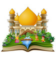 open a book with happy muslims families in front o vector image vector image