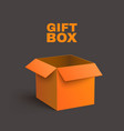 Open Orange Box Isolated on Dark Background vector image vector image