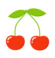 red cherry icon cherry closeup red cherry vector image