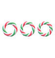 set candy cane circle frames swirl hard candy vector image
