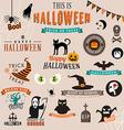 set happy halloween symbols and decoration vector image