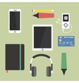 Set of business working elements for digital vector image vector image