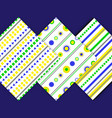 set-pattern-yellow-blue-green vector image