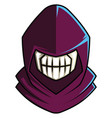 skull wearing purple hood on white background vector image vector image