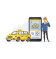 taxi service - modern cartoon character vector image