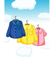 Three different kinds of clothes hanging vector image vector image