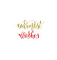 warmest wishes hand lettering holiday inscription vector image vector image