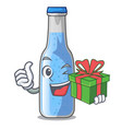 with gift glass of soda water on character vector image vector image