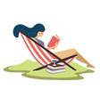 woman on beach lounger and reading book with vector image
