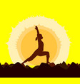 yoga sunset vector image
