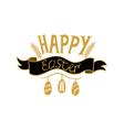 Golden Happy Easter lettering on white background vector image