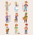 farmers cartoon people with organic village vector image