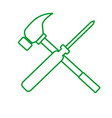 outline screwdriver hammer cross drawing graphic vector image