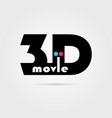 3d movie icon with shadow vector image vector image