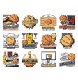 basketball sport club streetball team badges vector image vector image