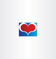 blue red love heart sign design element vector image vector image
