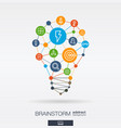 brainstorm integrated thin line icons in idea vector image vector image