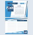 calendar planner for june 2019 fish vector image vector image