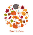 cartoon characters and autumn elements cartoon vector image vector image