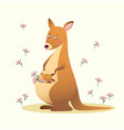 cartoon kangaroo with her little cute baby vector image vector image
