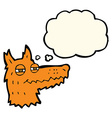 cartoon smug fox face with thought bubble vector image vector image