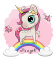 cartoon unicorn is on rainbow vector image vector image