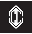 cc logo monogram with hexagon shape and outline vector image vector image