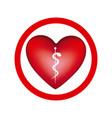 circular frame with heart health symbol serpent vector image vector image