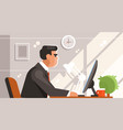 clerk sitting at computer vector image vector image
