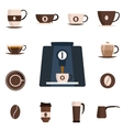 Coffee set flat icon Design set vector image vector image