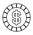 coin money dollar cash icon outline vector image vector image