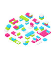 collection of isometric colorful plastic vector image