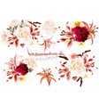 collection of realistic flowers roses and lilies vector image vector image