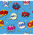 Comic Bubble Seamless Pattern Pop Art Background vector image
