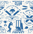 cricket club seamless pattern or background vector image vector image