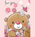 cute teddy bear with flowers vector image vector image