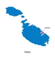 Detailed map of Malta and capital city Valletta vector image vector image